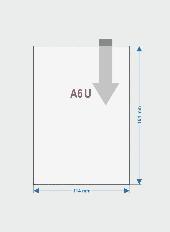 Couverture A6 ouverte du coté plus court, en haut – U